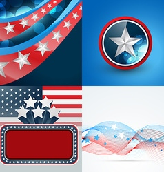 Set of 4th july american independence day vector