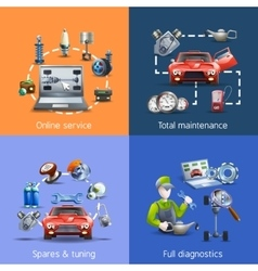 Car maintenance cartoon icons set vector