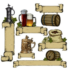 Set of beer elements vector