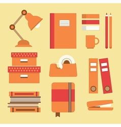 Office supplies icon set vector