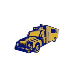 Ambulance emergency vehicle truck woodcut vector