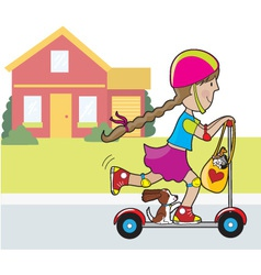 Scooter girl and house vector
