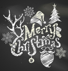 Chalk Merry Christmas Design vector image