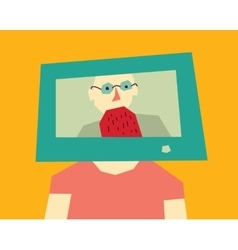 Man head tv color vector