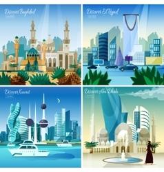 Arabic Cityscape 4 Flat Icons Square vector image