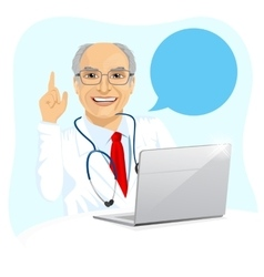 Senior male doctor with laptop giving advice vector