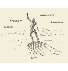 Drawn success climber man mountain sketch vector