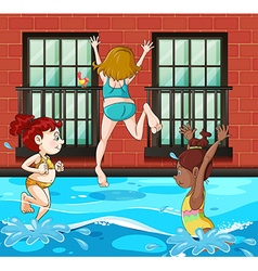 Girls diving and swimming in the pool vector