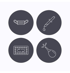 Medical mask contraception and pipette icons vector