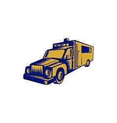 Ambulance emergency vehicle truck woodcut vector