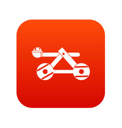 Ancient wooden catapult icon digital red vector