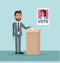 Background scene man in formal suit vote for vector