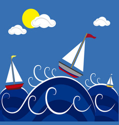 Boats in the sea vector