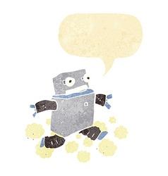 Cartoon running robot with speech bubble vector