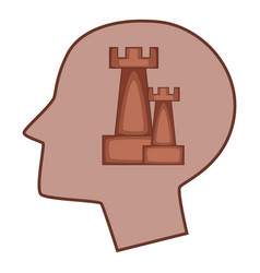 Castle inside human head icon cartoon style vector