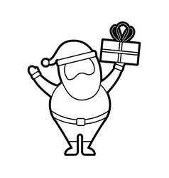 christmas happy santa claus holding gift vector image
