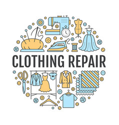 clothing repair alterations studio equipment vector image vector image