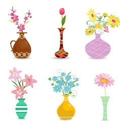 collection decorative vases with flowers for your vector image vector image