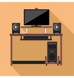Digital pc computer with monitors vector image
