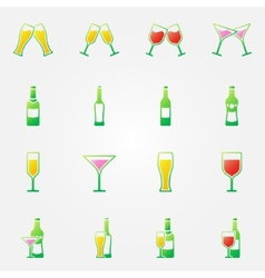 Drink alcohol bright icons vector image vector image