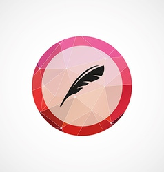 Feather circle pink triangle background icon vector