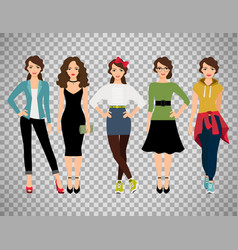 Ffashion women set on transparent background vector