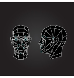 Geometric abstract human face front view side vector image vector image