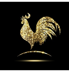 Golden rooster of glittering spangles vector