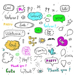 Hand drawn set of speech bubbles with dialog words vector