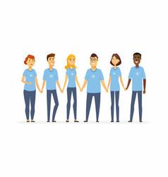 Happy volunteers holding hands - cartoon people vector