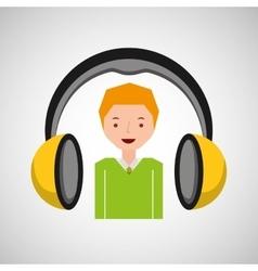 Headphones music cartoon guy young vector
