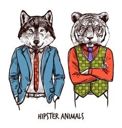 Hipster Animals Set vector image vector image