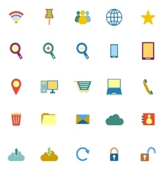 Internet color icons on white background vector