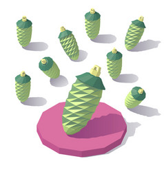 Isometric lowpoly fir cone vector