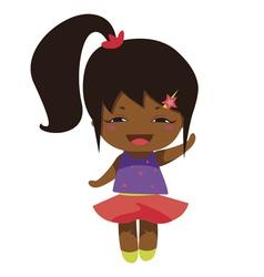 Kawaii cheerful magic star baby-grl vector