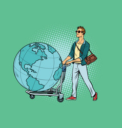 Man tourist with a luggage cart with the planet vector