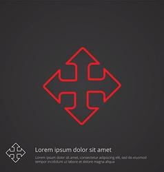 Move outline symbol red on dark background logo vector