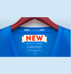 New collection tag on shirt blue jacket hanging vector