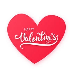 Paper cut red heart with text happy valentines vector