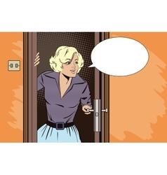 People in retro style pop girl peeks in the door vector
