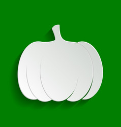 Pumpkin sign paper whitish icon with soft vector
