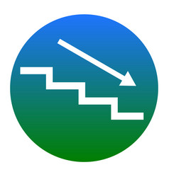 Stair down with arrow white icon in vector