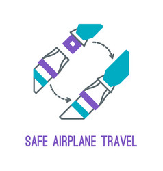 thin line icons for airplane safety concept vector image