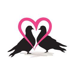 Two birds doves isolated silhouette love heart vector