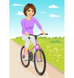 Woman riding bicycle on a dirt road in countryside vector