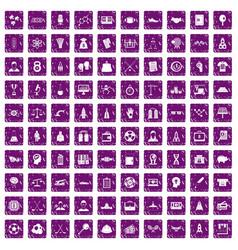 100 success icons set grunge purple vector