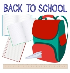 Modern school background with knapsack vector