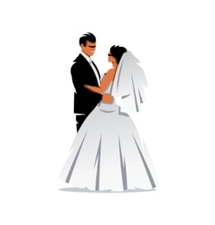 Bride and groom cartoon vector