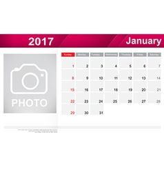 Year 2017 january month simple and clear design vector