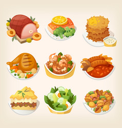 family dinner meals vector image